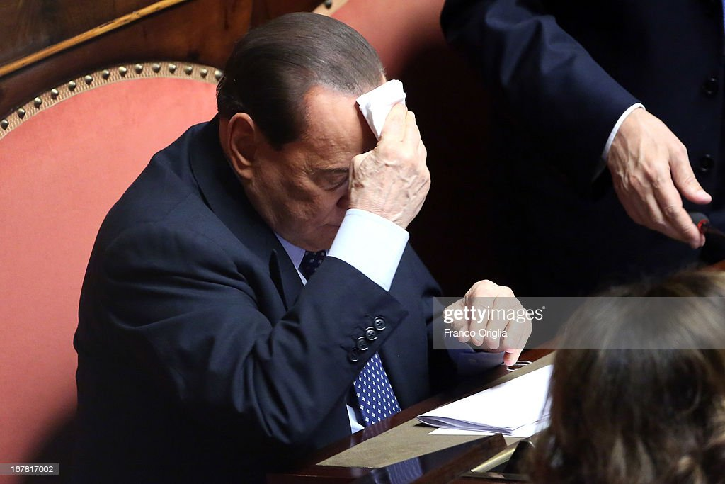 Former Italian Prime Minister Silvio Berlusconi attends the confidence vote at the Senate on April 30, 2013 in Rome, Italy. The new coalition government was formed through extensive cooperation agreements between the right and left coalitions after a two-month long post-election deadlock.
