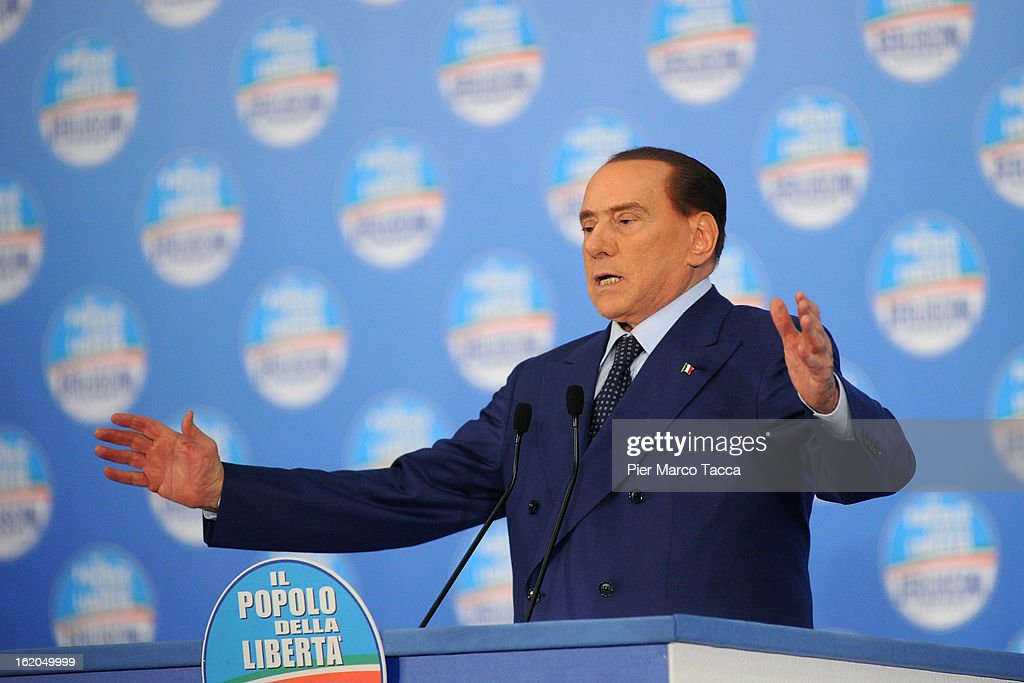 Former Italian Prime Minister <a gi-track='captionPersonalityLinkClicked' href=/galleries/search?phrase=Silvio+Berlusconi&family=editorial&specificpeople=201842 ng-click='$event.stopPropagation()'>Silvio Berlusconi</a> delivers his speech during a political rally on February 18, 2013 in Milan, Italy. Berlusconi is entering the last week of campaigning for his party Popolo della Liberta. Italians go to the polls February 24-25.