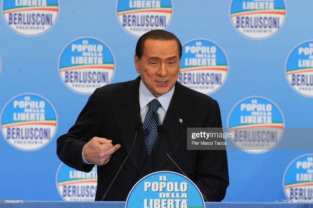 Former Italian Prime Minister <a gi-track='captionPersonalityLinkClicked' href=/galleries/search?phrase=Silvio+Berlusconi&family=editorial&specificpeople=201842 ng-click='$event.stopPropagation()'>Silvio Berlusconi</a> holds a press conference on his programme at Fiera di Milano on February 3, 2013 in Milan, Italy. During the press conference <a gi-track='captionPersonalityLinkClicked' href=/galleries/search?phrase=Silvio+Berlusconi&family=editorial&specificpeople=201842 ng-click='$event.stopPropagation()'>Silvio Berlusconi</a> has announced that if the PDL party (People of the Liberty) win the elections, they will return the tax to families introduced by the government of Mario Monti.