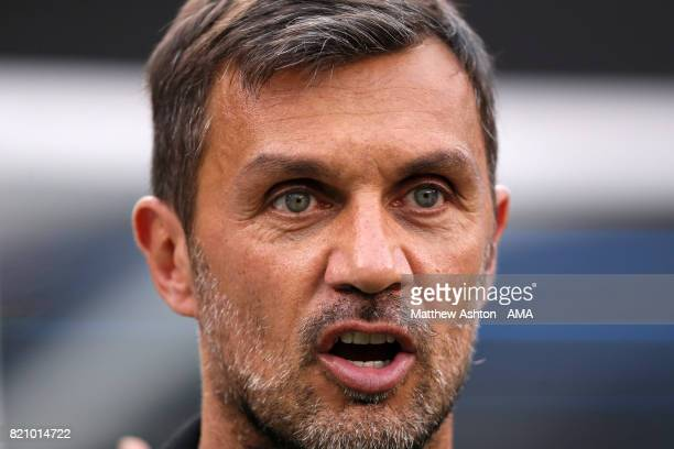 Former Italy international Paolo Maldini attends the International Champions Cup 2017 match between Juventus and FC Barcelona at MetLife Stadium on...