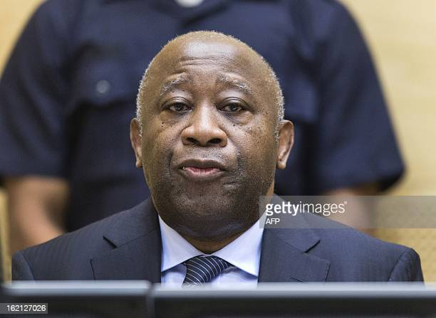 Former Ivory Coast President Laurent Gbagbo attends a pretrial hearing on charges of crimes against humanity at the International Criminal Court in...