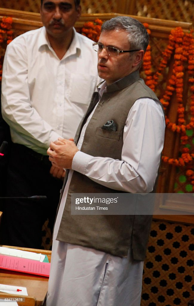 Former Jammu And Kashmir Chief Minister Omar Abdullah delivers his speech during Jammu And Kashmir assembly session on May 27, 2016 in Srinagar, India.
