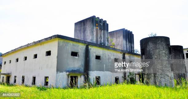Former Japanese Imperial Army toxic gas factory ruins are seen at Japan Ground SelfDefense Force Camp Kokura Sone Training field on August 28 2017 in...