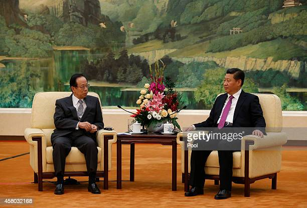 Former Japanese Prime Minister Yasuo Fukuda Chairman of the Boao Forum for Asia meets with Chinese President Xi Jinping at the Great Hall of the...