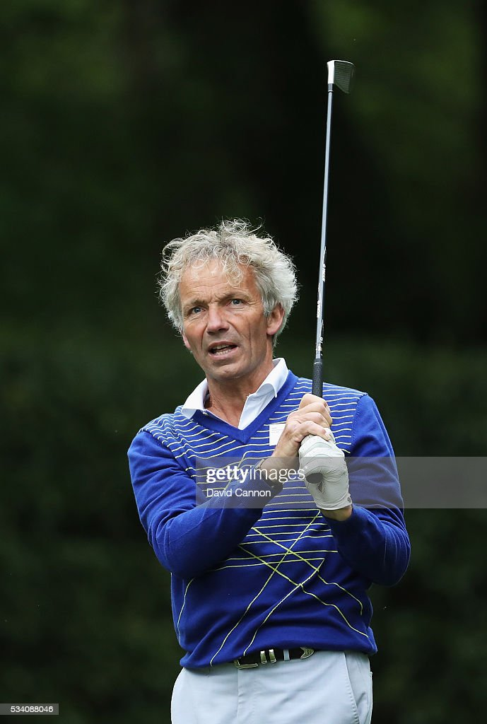 Former jockey John Francome plays a shot during the Pro-Am prior to the BMW PGA Championship at Wentworth on May 25, 2016 in Virginia Water, England.