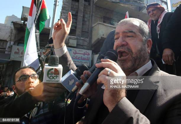 Former Jordanian MP Ali Abu alSukkar takes part in a protest after the Friday prayer in the capital Amman on February 24 2017 against the...