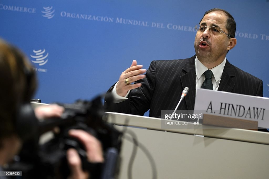 Former Jordanian Trade Minister Ahmad Hindawi gestures on January 30, 2013 during a press conference following a hearing at World Trade Organization (WTO) headquarters in Geneva. The WTO is interviewing nine candidates to replace Pascal Lamy as director general. The WTO's 158 member countries are to make its decision known by May 31.