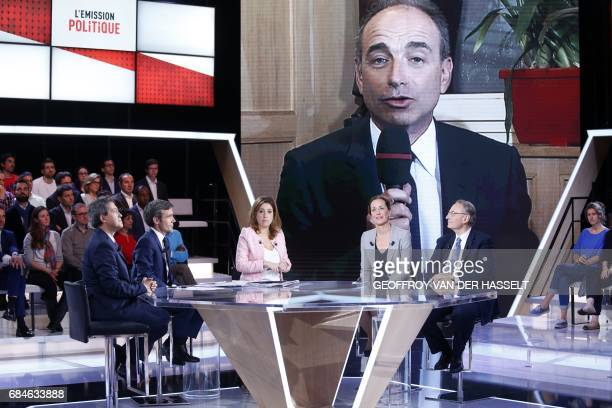 Former judge and MP of the rightwing party Les Republicains Georges Fenech journalists and TV hosts David Pujadas and Lea Salame LR's party member...