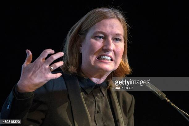 Former justice minister and HaTnuah party leader Tzipi Livni delivers a speech during an Economic Conference on December 24 2014 in the Israeli...