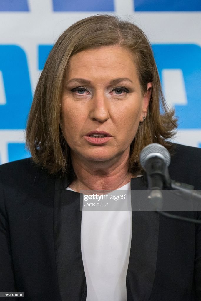 Former justice minister and HaTnuah party leader <a gi-track='captionPersonalityLinkClicked' href=/galleries/search?phrase=Tzipi+Livni&family=editorial&specificpeople=537394 ng-click='$event.stopPropagation()'>Tzipi Livni</a> speaks during a joint press conference with Israeli Labour party leader Isaac Herzog (unseen) in Tel Aviv on December 10, 2014. Hertzog and Livni announced an alliance to contest Israel's snap general election in March, and polls published on Tuesday said an alliance between Labour and Livni's HaTnuah party could nudge Netanyahu's Likud from power. AFP PHOTO/ JACK GUEZ