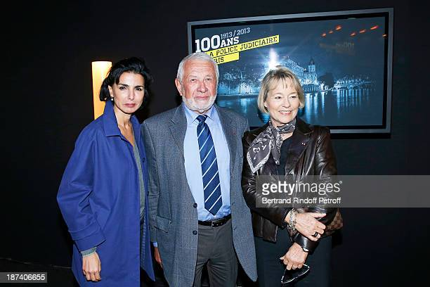 Former Justice Minister Rachida Dati former Paris Police chiefs Robert Broussard and Martine Monteil pose as they attend the '100th Anniversary Of...