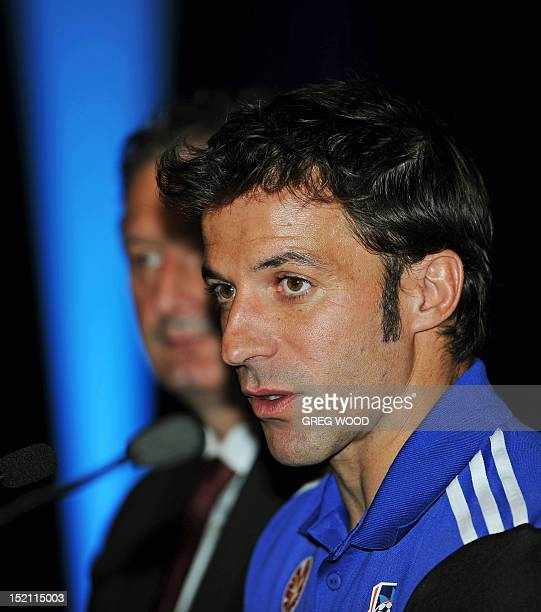 Former Juventus great Alessandro Del Piero with Sydney FC chief executive officer Tony Pignata speaks at his first press conference in Sydney on...