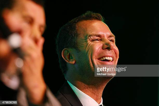 Former Kangaroos players Wayne Carey reacts during the Riddell Football Netball Club Sportman's Lunch at Crown Casino on March 21 2014 in Melbourne...