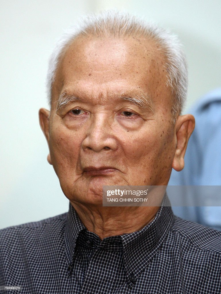Former Khmer Rouge leader <a gi-track='captionPersonalityLinkClicked' href=/galleries/search?phrase=Nuon+Chea&family=editorial&specificpeople=767256 ng-click='$event.stopPropagation()'>Nuon Chea</a> appears at the tribunal in the Court of Cambodia (ECCC) in Phnom Penh on February 4, 2008. <a gi-track='captionPersonalityLinkClicked' href=/galleries/search?phrase=Nuon+Chea&family=editorial&specificpeople=767256 ng-click='$event.stopPropagation()'>Nuon Chea</a> is to appeal against his detention by Cambodia's genocide tribunal, insisting there is not enough evidence to keep him behind bars pending trial. Up to two million people died of starvation and overwork, or were executed by the Khmer Rouge, which dismantled modern Cambodian society in its effort to forge a radical agrarian utopia.