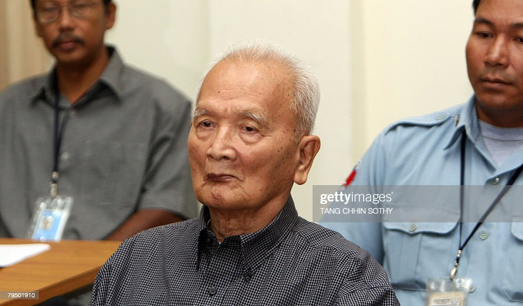 Former Khmer Rouge leader <a gi-track='captionPersonalityLinkClicked' href=/galleries/search?phrase=Nuon+Chea&family=editorial&specificpeople=767256 ng-click='$event.stopPropagation()'>Nuon Chea</a> appears (C) at the tribunal in the Court of Cambodia (ECCC) in Phnom Penh on February 4, 2008. <a gi-track='captionPersonalityLinkClicked' href=/galleries/search?phrase=Nuon+Chea&family=editorial&specificpeople=767256 ng-click='$event.stopPropagation()'>Nuon Chea</a> is to appeal against his detention by Cambodia's genocide tribunal, insisting there is not enough evidence to keep him behind bars pending trial. Up to two million people died of starvation and overwork, or were executed by the Khmer Rouge, which dismantled modern Cambodian society in its effort to forge a radical agrarian utopia.