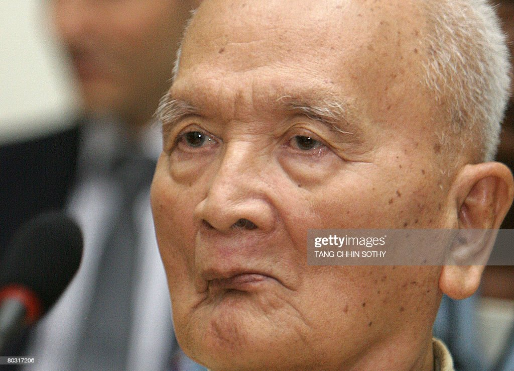 Former Khmer Rouge leader <a gi-track='captionPersonalityLinkClicked' href=/galleries/search?phrase=Nuon+Chea&family=editorial&specificpeople=767256 ng-click='$event.stopPropagation()'>Nuon Chea</a> appears for a verdict at the Extraordinary Chambers in the Court of Cambodia (ECCC) in Phnom Penh on March 20, 2008. <a gi-track='captionPersonalityLinkClicked' href=/galleries/search?phrase=Nuon+Chea&family=editorial&specificpeople=767256 ng-click='$event.stopPropagation()'>Nuon Chea</a> is to appeal against his detention by Cambodia's genocide tribunal, insisting there is not enough evidence to keep him behind bars pending trial. Up to two million people died of starvation and overwork, or were executed by the Khmer Rouge, which dismantled modern Cambodian society in its effort to forge a radical agrarian utopia.