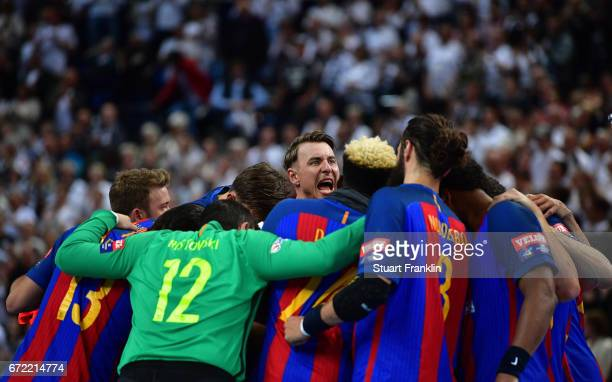 Former Kiel player Filip Jircha of Barcelona shouts as he joins together with his teamates during the EHF Champions League Quarter Final first leg...