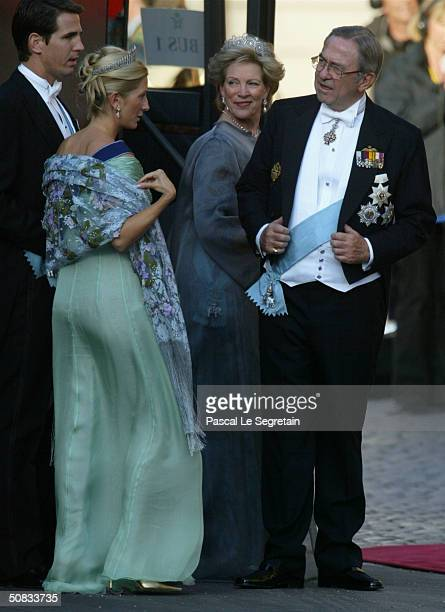 Former King Constantine II of Greece and Queen AnneMarie sister to Queen Margrethe II of Denmark arrive with their son Crown Prince Pavlos and his...