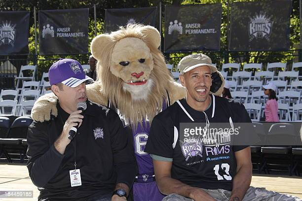 Former King Doug Christie does an interview before the Sacramento Kings Outdoor Scrimmage on October 13 2013 at the Capitol Mall in Sacramento...