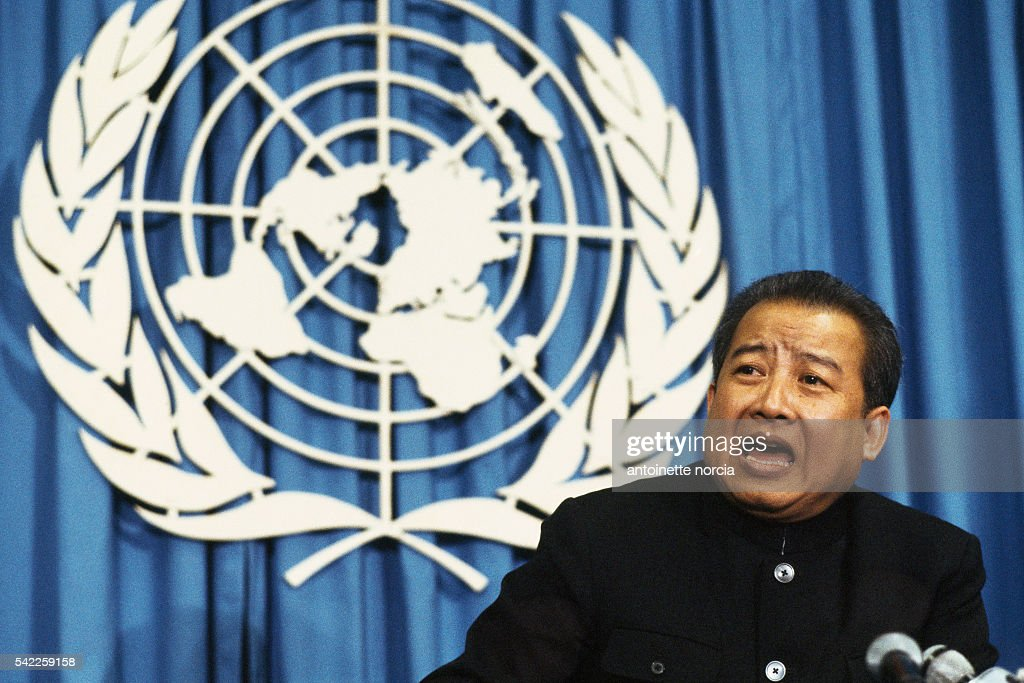 Former King of Cambodia Norodom Sihanouk during a speech at th United Nations