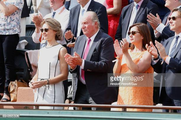 Former King of Spain Juan Carlos 1er looks very happy after the victory of Rafael nadal during the Men Final of the 2017 French Tennis Open Day...