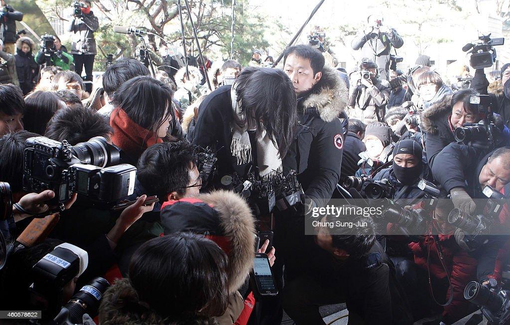Former Korean Air Lines Co VP Cho HyunAh arrives at the Seoul western prosecutors' office on December 17 2014 in Seoul South Korea Former Korean Air...