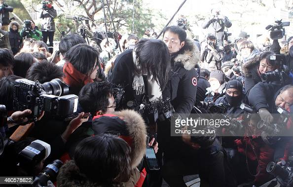 Former Korean Air Lines Co VP Cho HyunAh arrives at the Seoul western prosecutors' office on December 17 2014 in Seoul South Korea Former Korean Air...