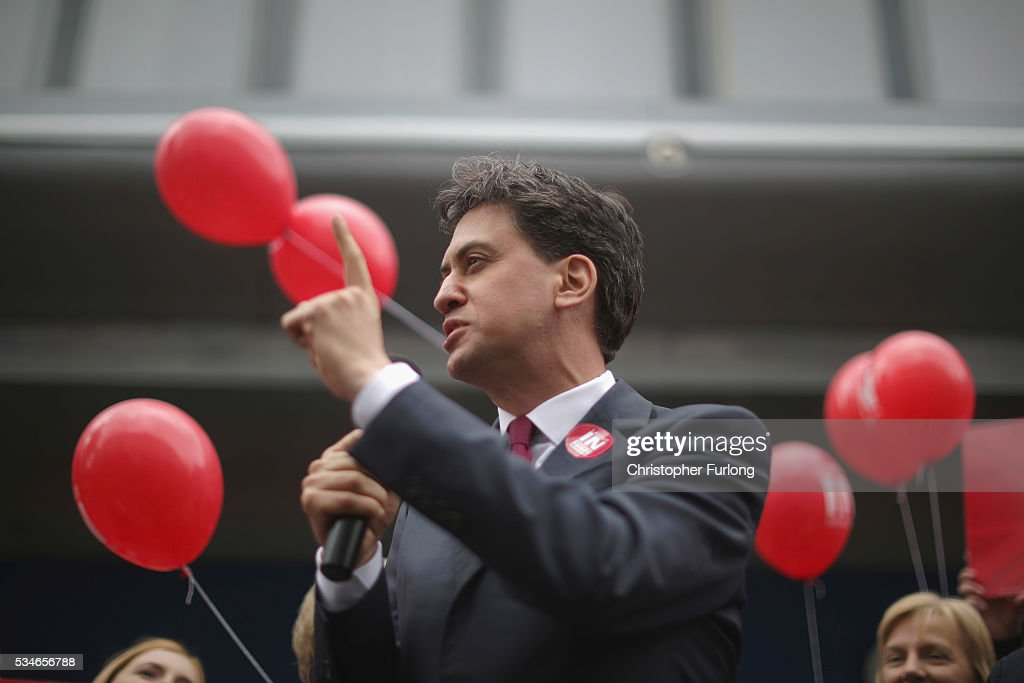 Former Labour leader Ed Miliband addresses supporters and members of the public in Doncaster town centre on May 27, 2016 in Doncaster, England. The Labour In campaign battle bus arrived in Doncaster today with Labour leader Jeremy Corbyn and Ed Miliband MP to canvass for votes and hope to persuade UK citizens to stay in the European Union when they vote in the EU Referendum on the June 23.