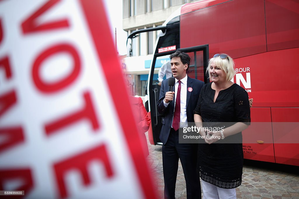Former Labour leader Ed Miliband and actress Sue Cleaver campaign for remain votes while touring with the 'Labour In Battle Bus' at St John's Square on May 24, 2016 in Blackpool, England. The 'Labour In' campaign is hoping to persuade UK citizens to stay in the European Union when they vote in the EU Referendum on the June 23.