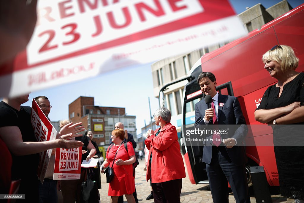 Former Labour leader <a gi-track='captionPersonalityLinkClicked' href=/galleries/search?phrase=Ed+Miliband&family=editorial&specificpeople=4376337 ng-click='$event.stopPropagation()'>Ed Miliband</a> and actress Sue Cleaver campaign for remain votes while touring with the 'Labour In Battle Bus' at St John's Square on May 24, 2016 in Blackpool, England. The 'Labour In' campaign is hoping to persuade UK citizens to stay in the European Union when they vote in the EU Referendum on the June 23.