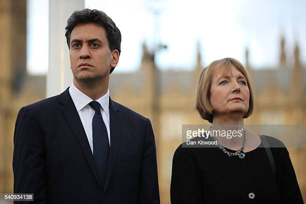 Former Labour Leader Ed Miliband and former deputy Leader of the Labour Party Harriet Harman attend a vigil in memory of Labour MP Jo Cox on...