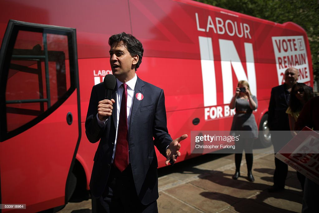 Former Labour leader Ed Miliband campaigns for remain votes while touring with the 'Labour In Battle Bus' at Flag Market on May 24, 2016 in Preston, England. The 'Labour In' campaign is hoping to persuade UK citizens to stay in the European Union when they vote in the EU Referendum on the June 23.