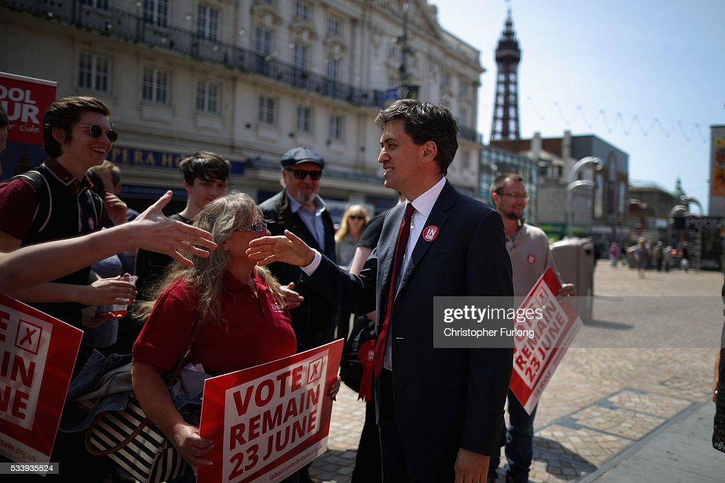 Former Labour leader Ed Miliband campaigns for remain votes while touring with the 'Labour In Battle Bus' at St John's Square on May 24, 2016 in Blackpool, England. The 'Labour In' campaign is hoping to persuade UK citizens to stay in the European Union when they vote in the EU Referendum on the June 23.