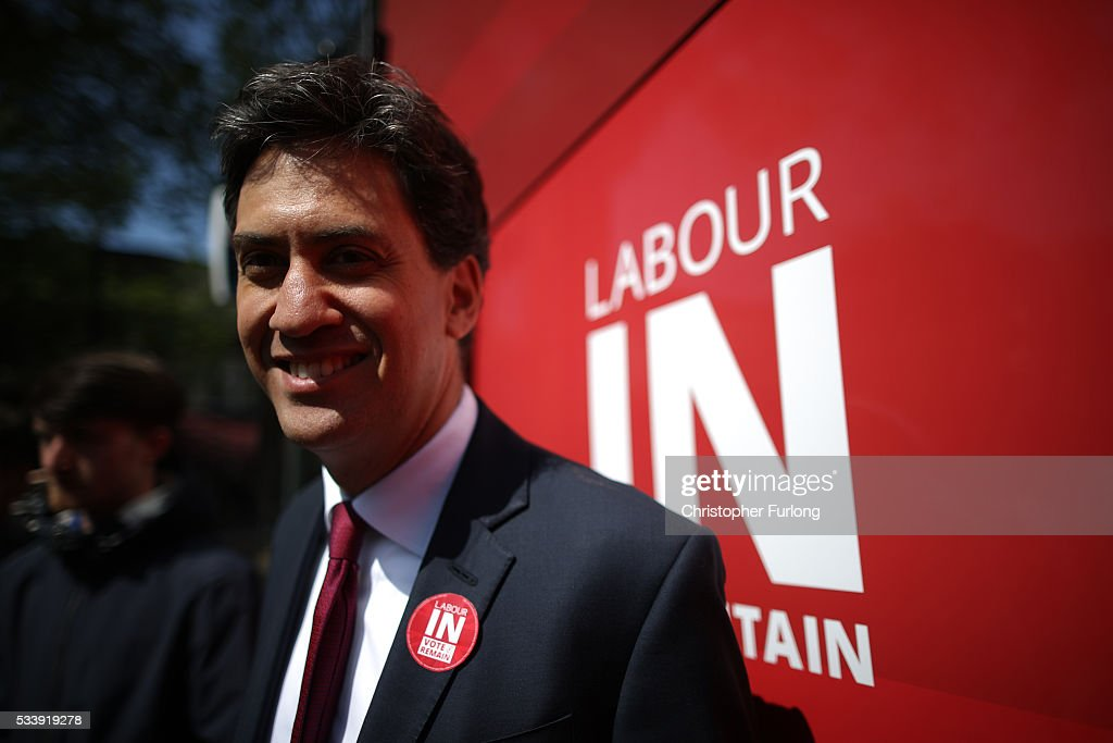 Former Labour leader <a gi-track='captionPersonalityLinkClicked' href=/galleries/search?phrase=Ed+Miliband&family=editorial&specificpeople=4376337 ng-click='$event.stopPropagation()'>Ed Miliband</a> smiles as he campaigns for remain votes while touring with the 'Labour In Battle Bus' at Flag Market on May 24, 2016 in Preston, England. The 'Labour In' campaign is hoping to persuade UK citizens to stay in the European Union when they vote in the EU Referendum on the June 23.