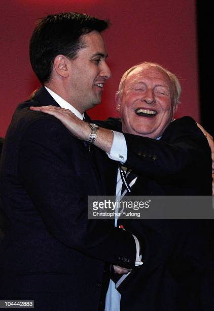Former labour leader Neil Kinnock congratulates new leader of the Labour Party Ed Miliband after the leadership announcement at the beginning of the...