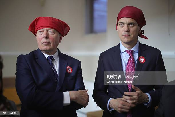 Former Labour minister David Miliband and Alan Johnson MP take part in a community meeting at Ramgarhia Sikh Temple in Birmingham as the MP's...