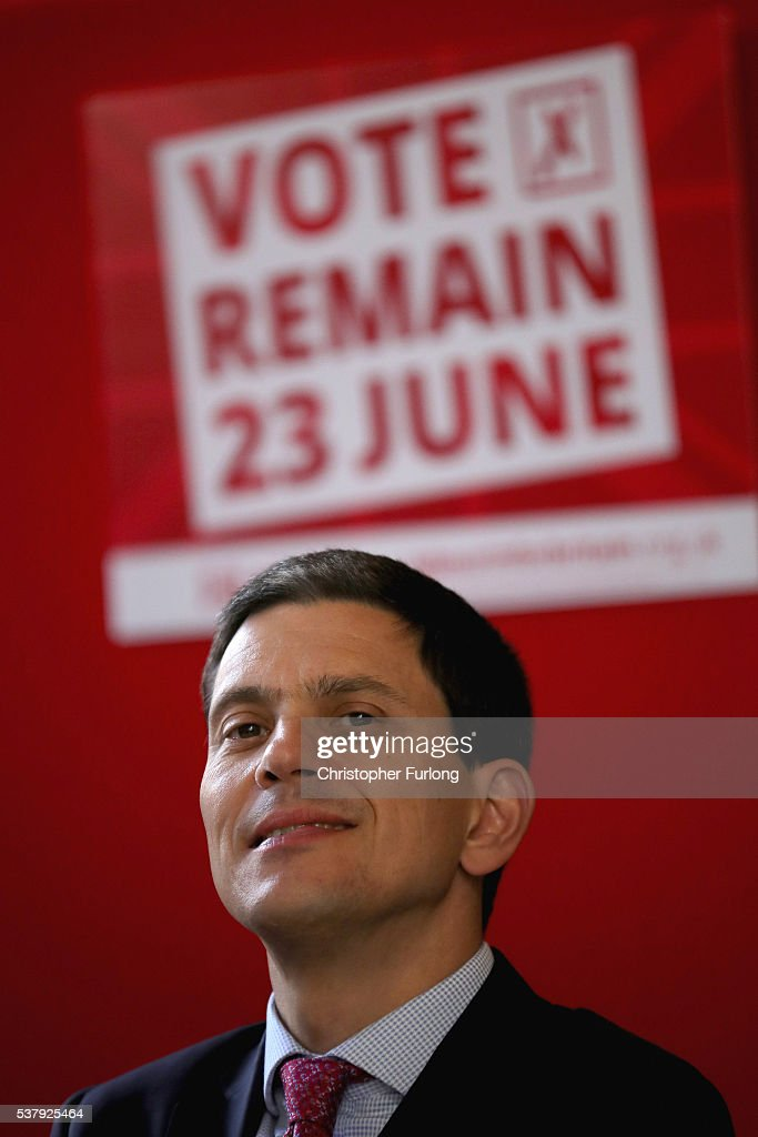 Former Labour minister <a gi-track='captionPersonalityLinkClicked' href=/galleries/search?phrase=David+Miliband&family=editorial&specificpeople=206702 ng-click='$event.stopPropagation()'>David Miliband</a> takes part in a community meeting at St Peters College in Washwood Heath as he campaigns for remain votes while touring with the 'Labour In Battle Bus' on June 3, 2016 in Birmingham, England. Campaigning continues by both the Brexit and Remain groups ahead of the EU referendum on June 23rd.