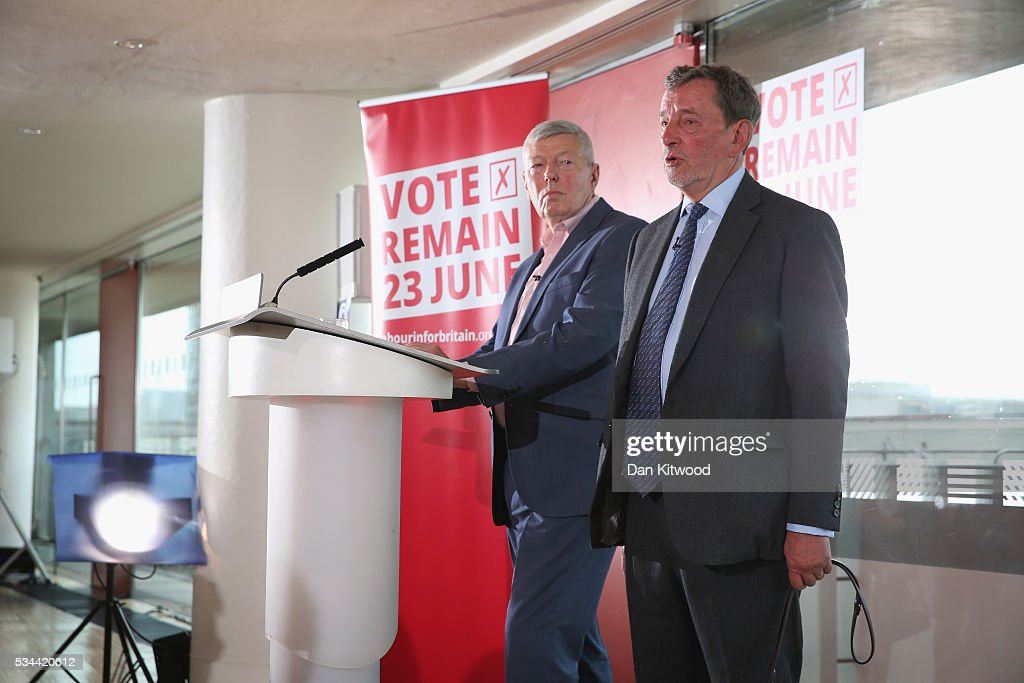 Former Labour MP <a gi-track='captionPersonalityLinkClicked' href=/galleries/search?phrase=Alan+Johnson+-+Politico&family=editorial&specificpeople=228679 ng-click='$event.stopPropagation()'>Alan Johnson</a> (L) and Lord <a gi-track='captionPersonalityLinkClicked' href=/galleries/search?phrase=David+Blunkett&family=editorial&specificpeople=167280 ng-click='$event.stopPropagation()'>David Blunkett</a> speak to members of the press during a press conference at the Royal Festival Hall on May 26, 2016 in London, England. Labour's Former Home Secretary, delivered a speech on the security benefits of staying in the EU.