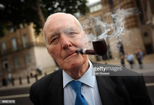 Former Labour MP Tony Benn arrives to lay a wreath at the Cenotaph on Whitehall at a Ceremony for the 204 dead Soldiers on August 17 2009 in London...