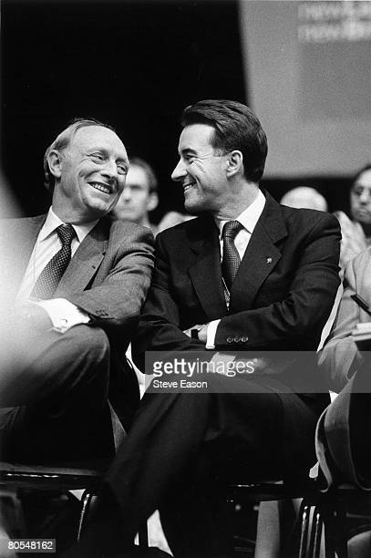 Former Labour Party leader Neil Kinnock shares a joke with Peter Mandelson the key figure behind the party's General Election landslide victory at...