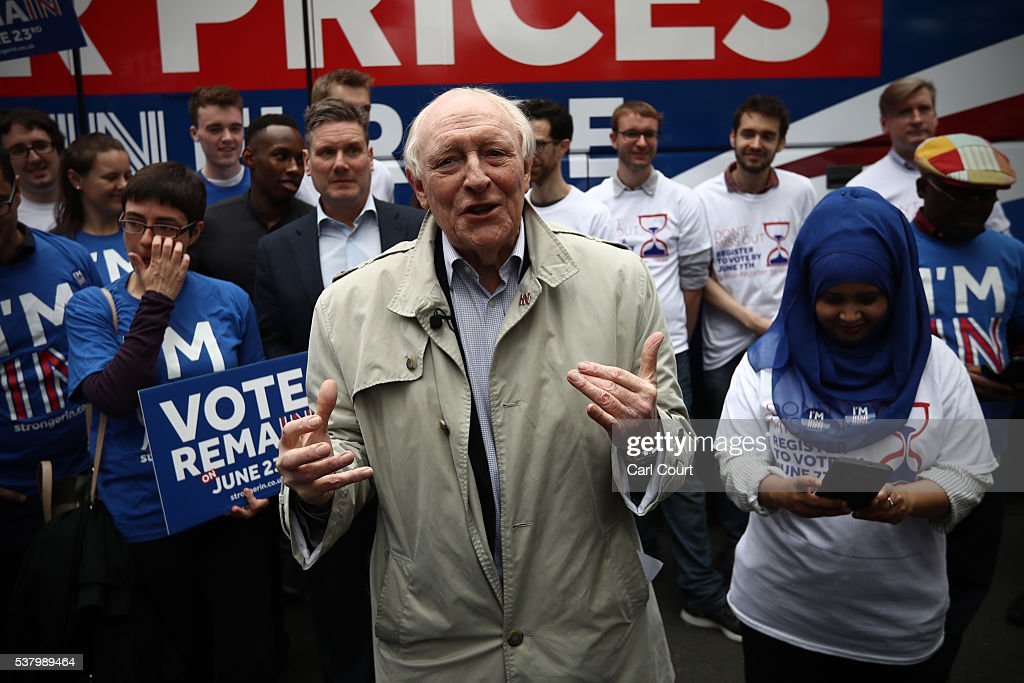 Former Labour Party leader <a gi-track='captionPersonalityLinkClicked' href=/galleries/search?phrase=Neil+Kinnock&family=editorial&specificpeople=178980 ng-click='$event.stopPropagation()'>Neil Kinnock</a> speaks during a rally to support the 'Stronger In' campaign's voter registration drive across the country, on June 4, 2016 in London, England. Campaigning continues by both the Brexit and Remain groups ahead of the EU referendum on June 23rd.