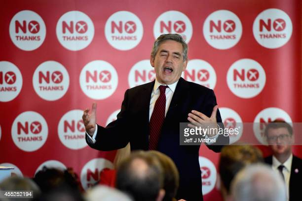 Former Labour Prime Minister Gordon Brown makes the case for Scotland staying in the UK at a Better Together rally on September 11 2014 in Kilmarnock...