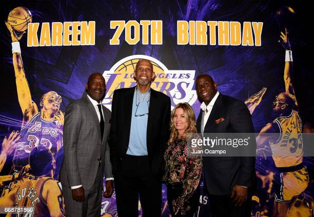 Former Lakers teammates James Worthy Kareem Abdul Jabbar and Jeanie Buss controlling owner and president of the Los Angeles Lakers and Earvin 'Magic'...