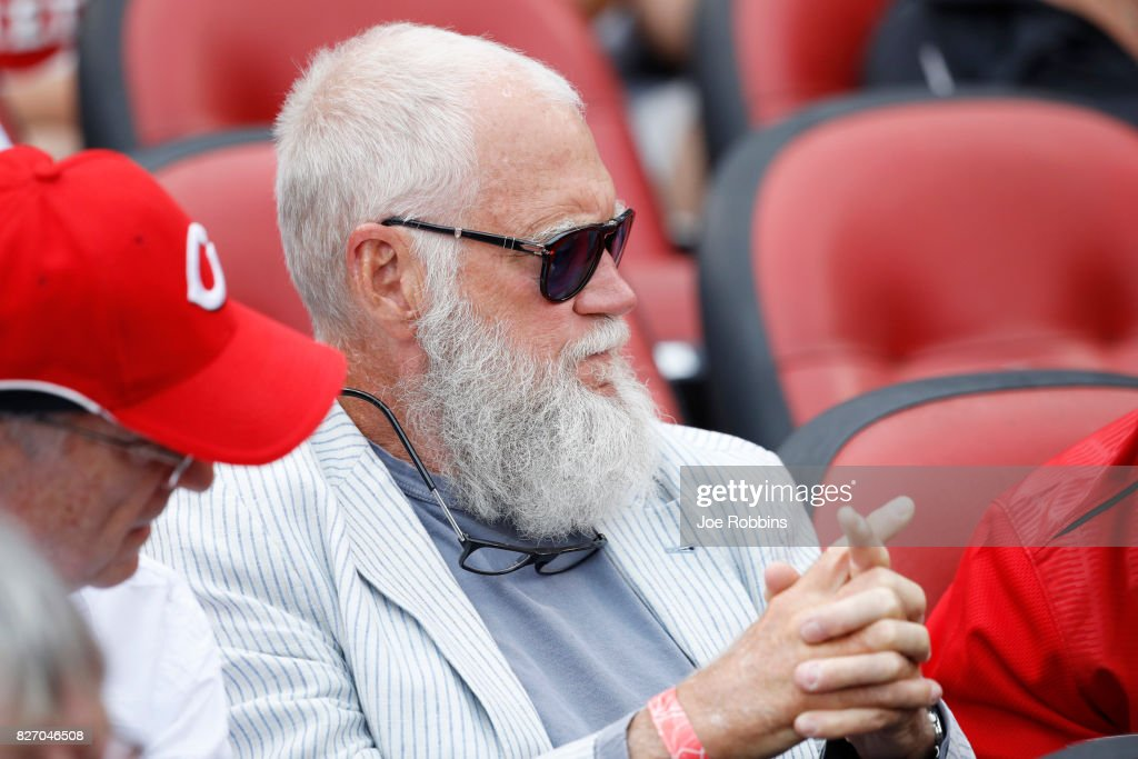 Former late night television host David Letterman attends a game between the St. Louis Cardinals and Cincinnati Reds at Great American Ball Park on August 6, 2017 in Cincinnati, Ohio. The Cardinals defeated the Reds 13-4.