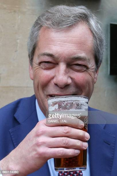 Former leader of the antiEU UK Independence Party Nigel Farage drinks outside a pub in Westminster in London on March 29 after British Prime Minister...