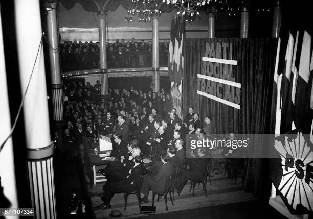 Former leader of the French rightwing league and founder of the Parti Social Français François de La Rocque pronounces a speech in Mars 1938 at the...
