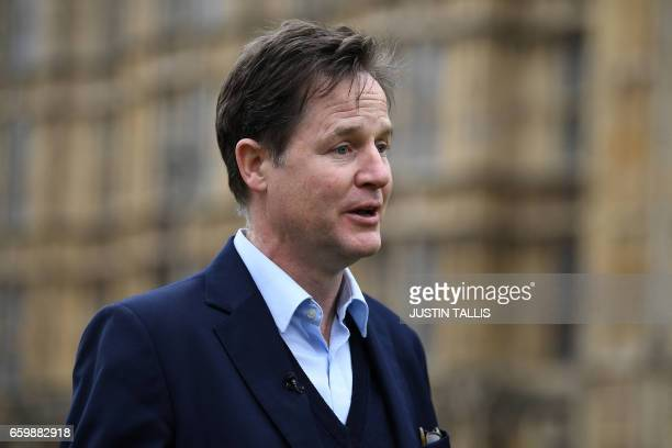 Former leader of the Liberal Democrats and former British Deputy Prime Minister Nick Clegg gives a television interview near the Houses of Parliament...