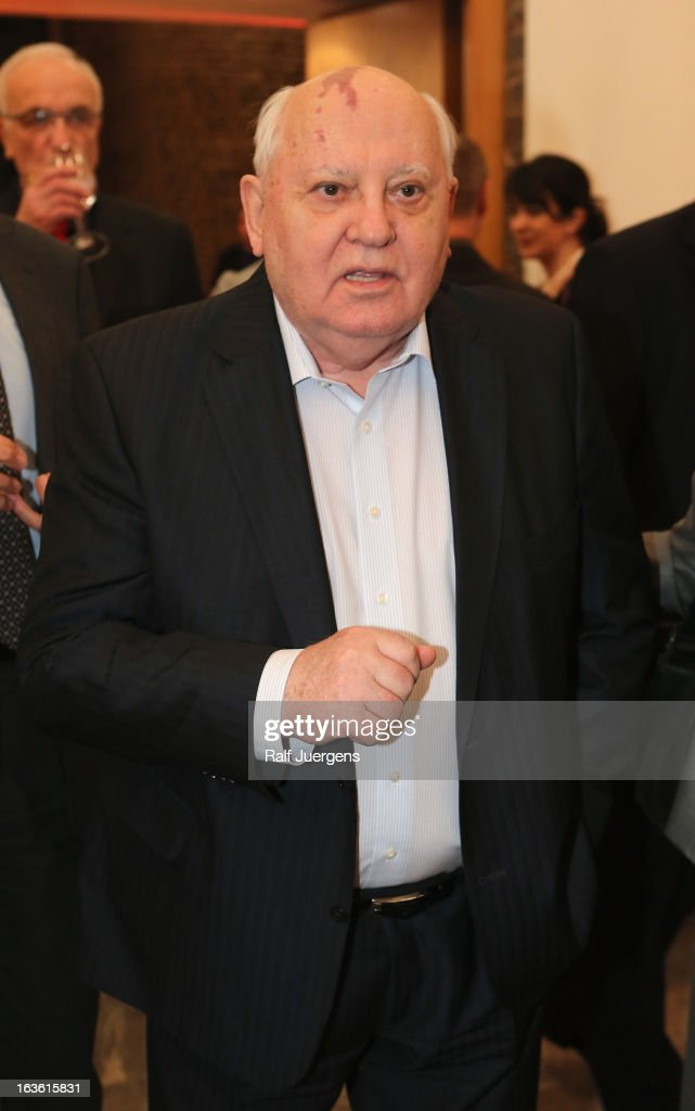 Former leader of the Soviet Union <a gi-track='captionPersonalityLinkClicked' href=/galleries/search?phrase=Mikhail+Gorbachev&family=editorial&specificpeople=93773 ng-click='$event.stopPropagation()'>Mikhail Gorbachev</a> attends a 'meet and greet' before talking with Fritz Pleitgen about his autobiography 'Alles zu seiner Zeit' (All in good time) during the lit. Cologne at `Guerzenich`on March 13, 2013 in Cologne, Germany.
