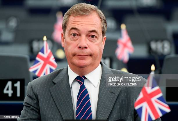 Former leader of the UK Independence Party Nigel Farage attends a meeting at the European Parliament in Strasbourg eastern France on June 14 ahead of...