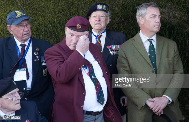 Former leader of UKIP Nigel Farage attends the spreading of the ashes Normandy Veteran Major Christopher Hamerton as he joins veterans on the beach...